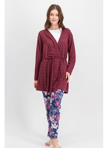 Arnetta Arnetta Carnation Krem Kadın Büyük Beden Pijama Takımı, Hırka 3'Lü Takım Krem